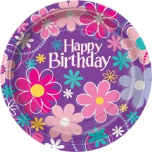 "9"" Blossom Birthday Party Dinner Plates, 8ct"