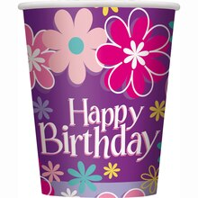 9oz Blossom Birthday Party Paper Cups, 8ct