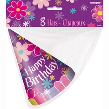 Blossom Birthday Party Hats, 8ct, Packaging