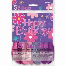 "12"" Blossom Birthday Party Balloons, 8ct, Packaging"