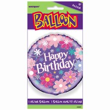 "Foil Blossom Birthday Balloon, 18"", Packaging"