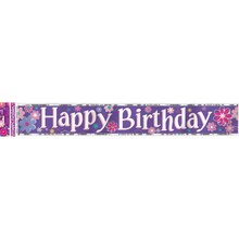 Foil Blossom Birthday Party Banner, 12 Ft.