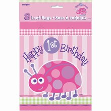 Ladybug First Birthday Favor Bags, 8ct