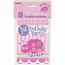 Ladybug First Birthday Invitations, 8ct, Packaging