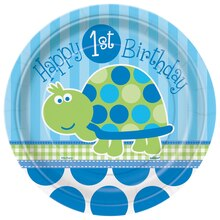 "7"" Turtle First Birthday Dessert Plates, 8ct"