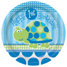 "9"" Turtle First Birthday Dinner Plates, 8ct"