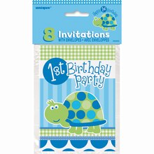 Turtle First Birthday Party Invitations, 8ct,  Package