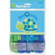 "12"" Latex Turtle First Birthday Balloons, 8ct, Package"