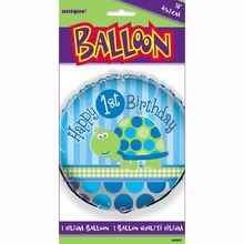 "Foil Turtle First Birthday Balloon, 18"", Package"