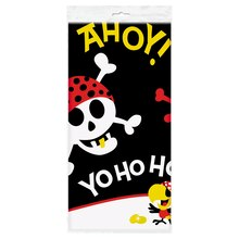 "Plastic Pirate Table Cover, 84"" x 54"", Package"