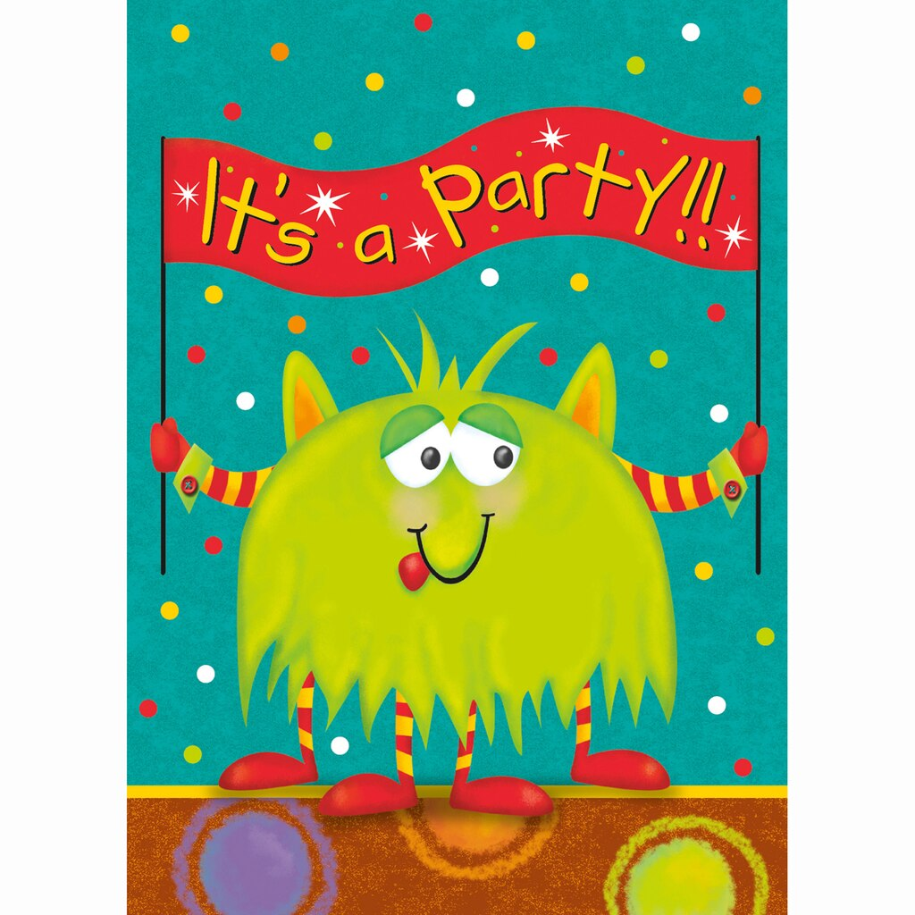party monsters birthday party invitations 8ct - Monster Birthday Party Invitations