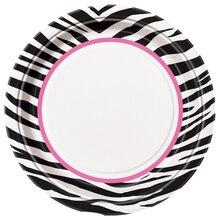 "9"" Zebra Print Dinner Plates, 8ct"