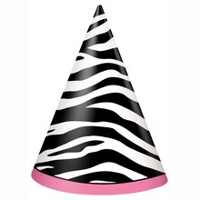 Zebra Print Party Hats, 8ct