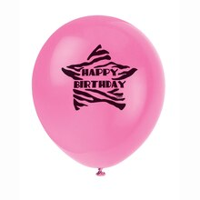 "12"" Latex Zebra Print Happy Birthday Balloons, 8ct"
