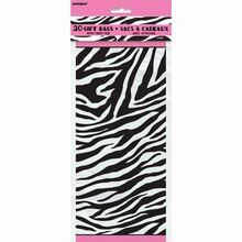 Zebra Print Cellophane Bags, 20ct