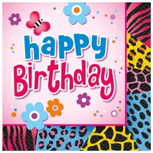 Wild Birthday Party Beverage Napkins, 16ct