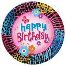 "9"" Wild Birthday Party Dinner Plates, 8ct"