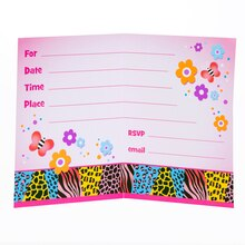 Wild Birthday Party Invitations, 8ct, Inside