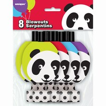 Panda Birthday Party Blowers, 8ct