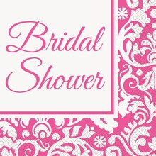 Pink Damask Bridal Shower Luncheon Napkins, 16ct
