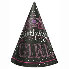Pink Chalk Party Hats, 8ct