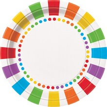 "9"" Rainbow Party Dinner Plates, 8ct"