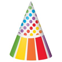 Rainbow Party Hats, 8ct