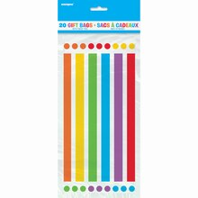 Rainbow Party Cellophane Bags, 20ct