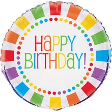 "Foil Rainbow Party Birthday Balloon, 18"""