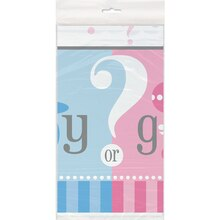"Plastic Gender Reveal Table Cover, 84"" x 54"", Packaging"