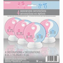 "Mini 6"" Honeycomb Gender Reveal Decorations, 4ct, Package"