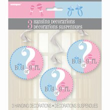 Hanging Gender Reveal Decorations, 3ct, Package
