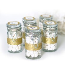 Celebrate It Occasions Snap-Top Favor Jars, Gold Glitter Wraps