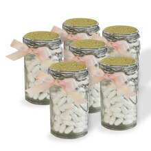 Celebrate It Occasions Snap-Top Favor Jars & Gold Glitter Labels