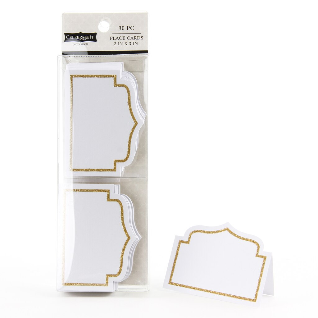 celebrate it occasions place cards gold glitter border. Black Bedroom Furniture Sets. Home Design Ideas