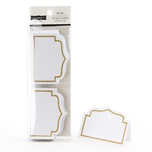 Celebrate It Occasions Place Cards, Gold Glitter Border