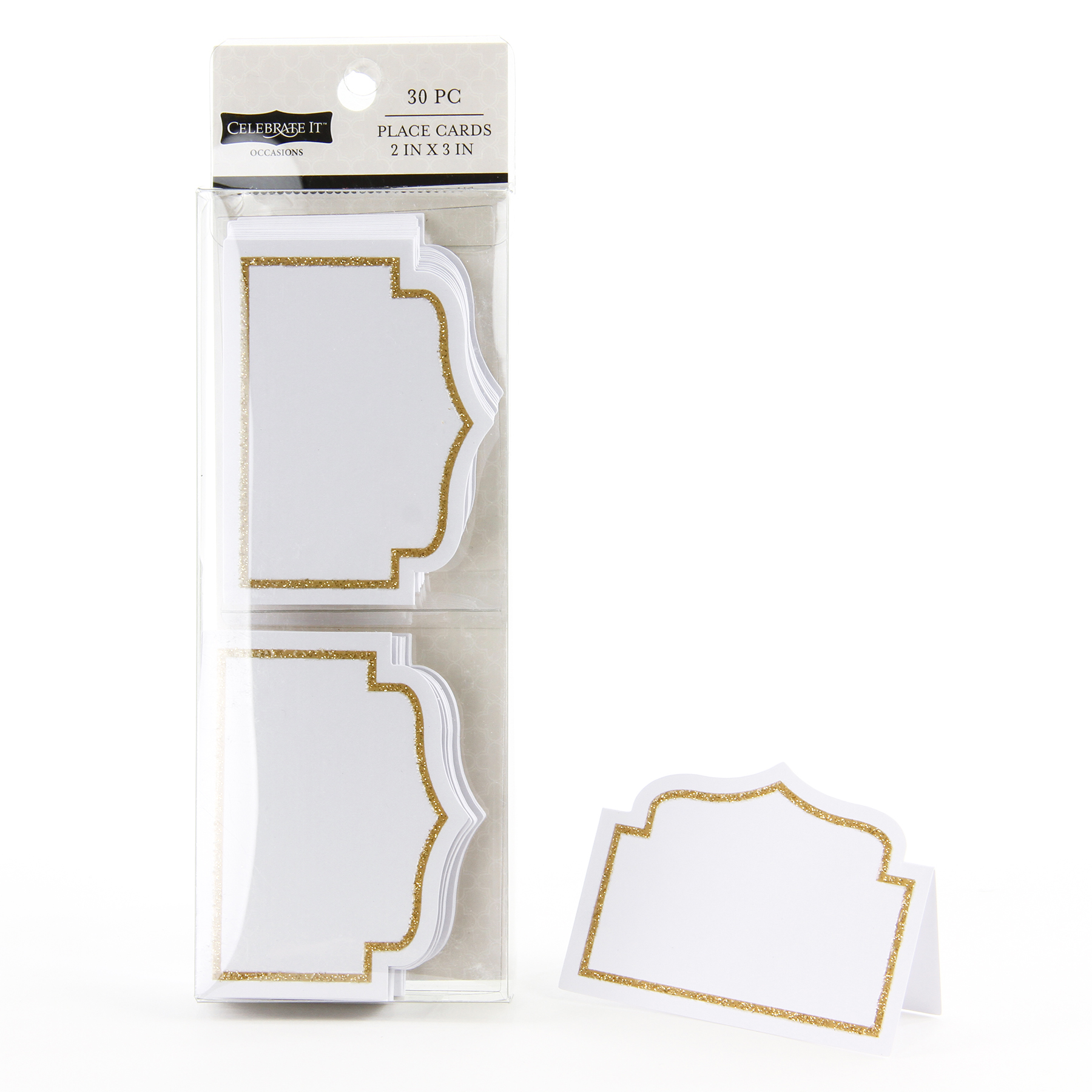 celebrate it occasions place cards gold glitter border