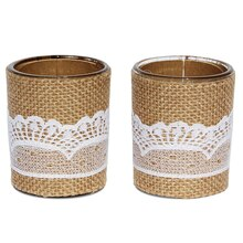 Celebrate It Occasions Burlap & Lace Votive Holders