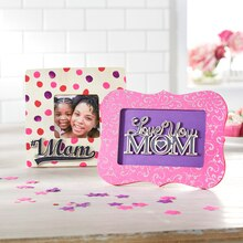 """#1 Mom"" Polka Dot Wood Frame"