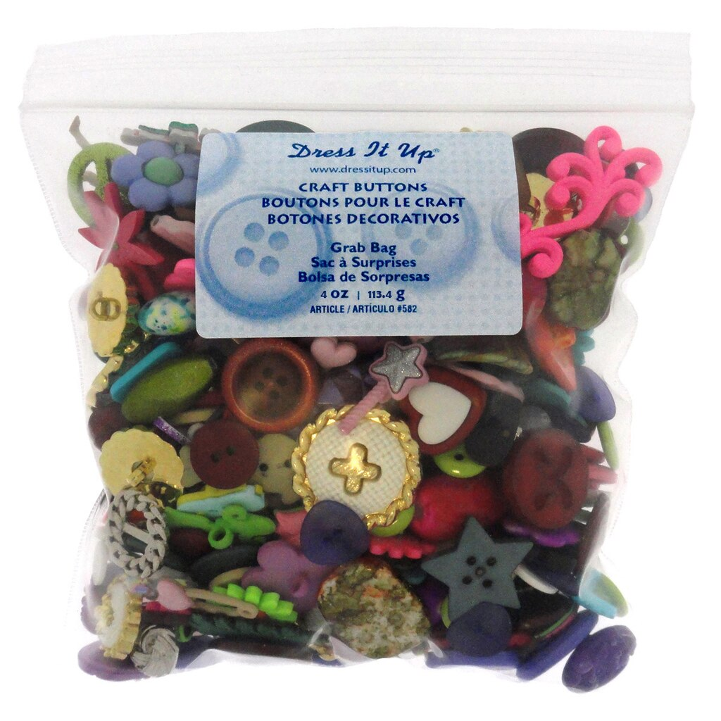 Dress it up craft buttons grab bag for Michaels crafts button maker