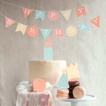 Birthday Party Banner with Flags