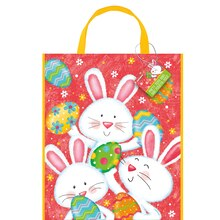 "Large Plastic Happy Easter Bunny Favor Bag, 13"" x 11"""