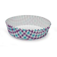 "Celebrate It Ruffled Baking Cups, 4"", Purple & Turquoise Gingham"