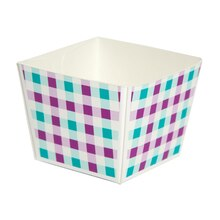 Celebrate It Cube Baking Cup, Purple & Turquoise Gingham