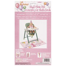 Pink First Birthday High Chair Decorating Kit packaging