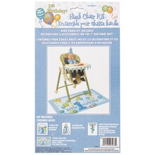 Blue First Birthday High Chair Decorating Kit packaging