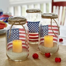 American Flag Mason Jar Votive Holders