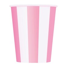 12oz Light Pink Striped Paper Cups, 6ct