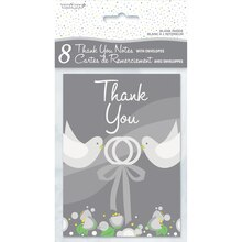 Silver Wedding Thank You Cards, 8ct