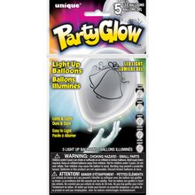 """10"""" Latex Silver Wedding Bells Light Up Balloons, 5ct Package"""